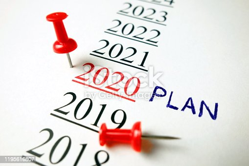 Number 2020 with word plan and red pin, future business planning concept