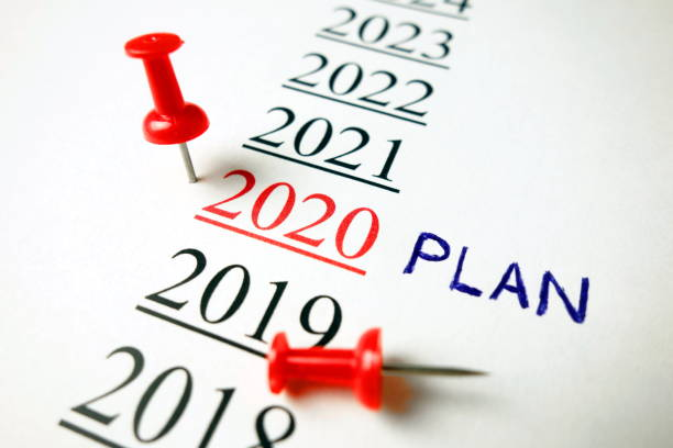 Number 2020 with word plan and red pin stock photo