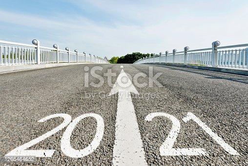Number 2021 on asphalt pedestrian bridge