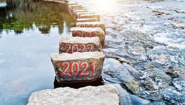 Number 2021 to 2026 on stepping stones on the water stock photo