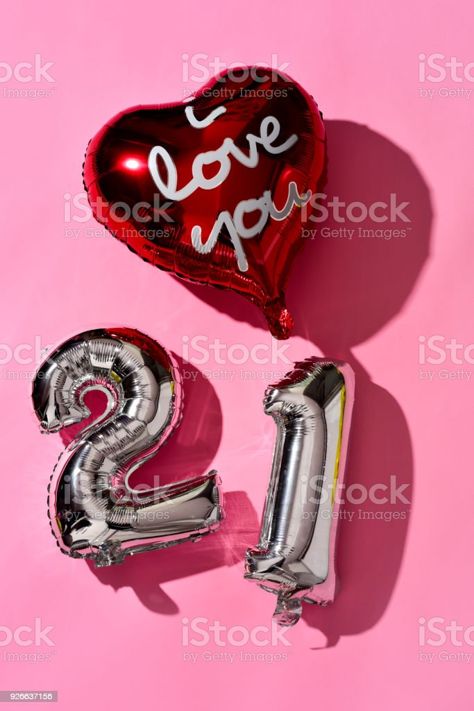 number 21 and text I love you in a balloon stock photo