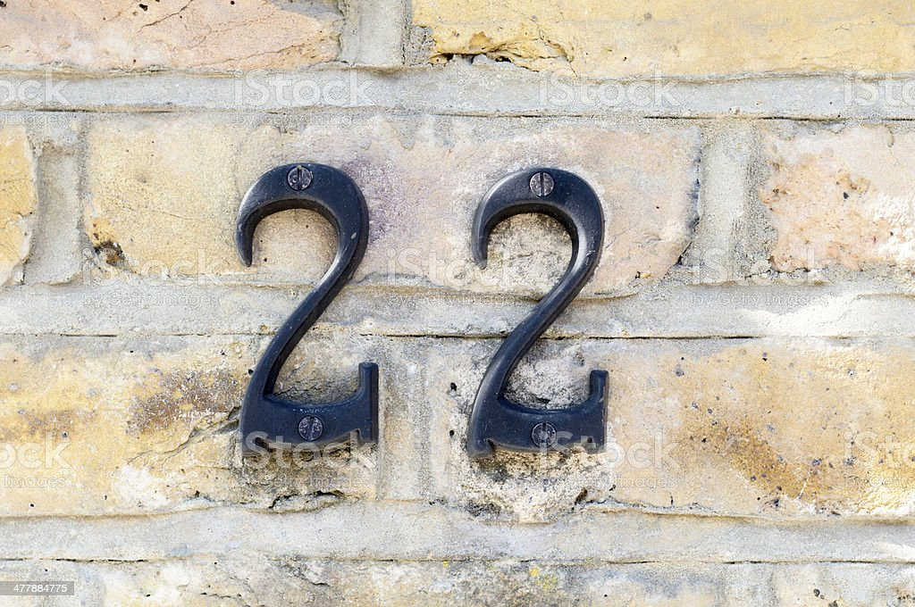 Number 22 On Wall stock photo