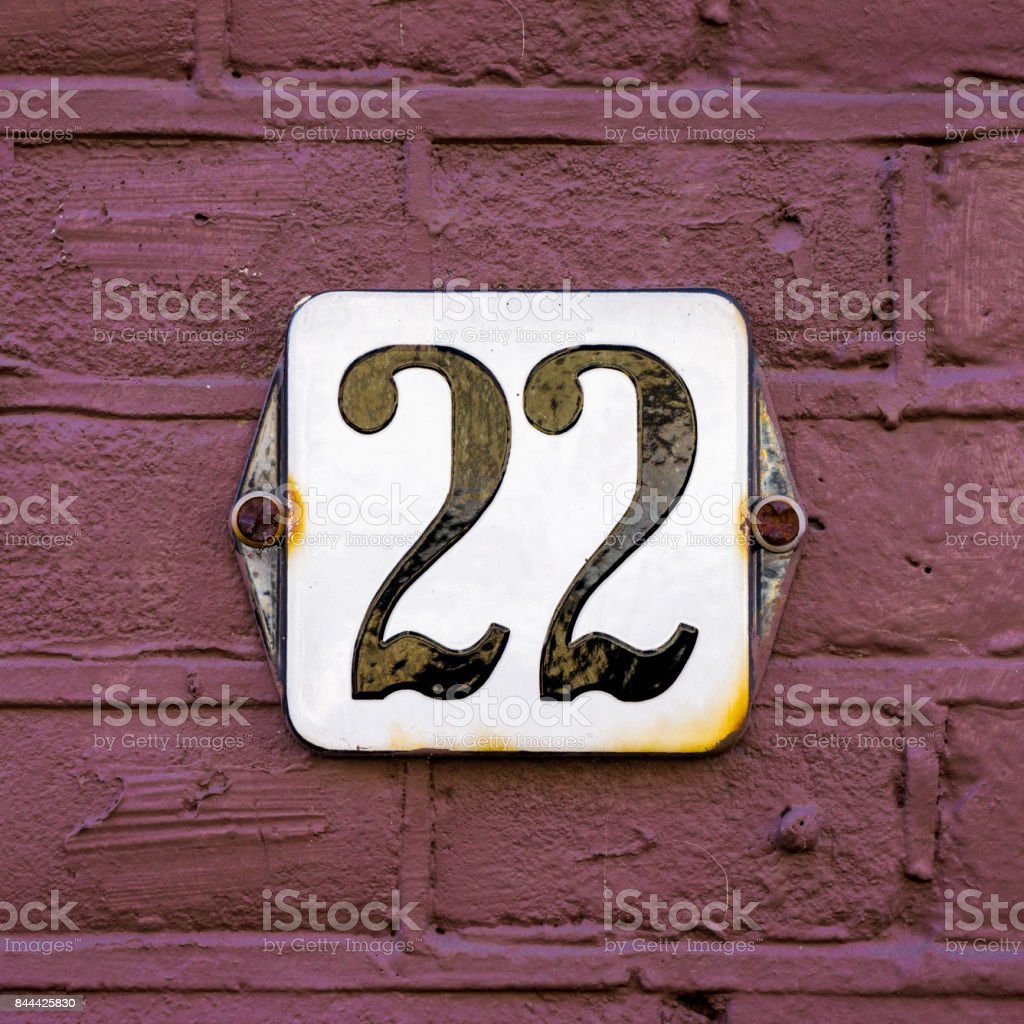Number 22 stock photo