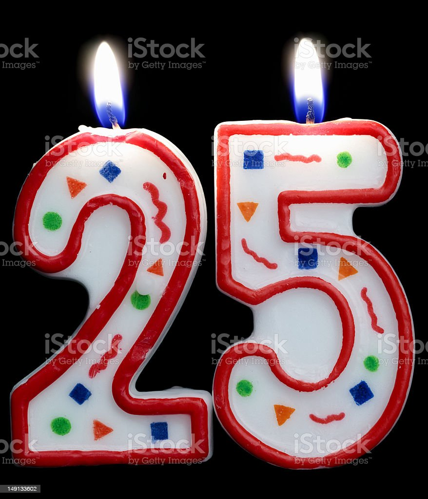 number 25 candle stock photo