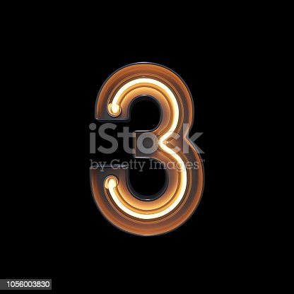 istock Number 3, Alphabet made from Neon Light with clipping path 1056003830