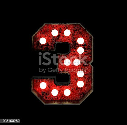 845307450 istock photo Number 3. Broadway Style Light Bulb Font 928100280