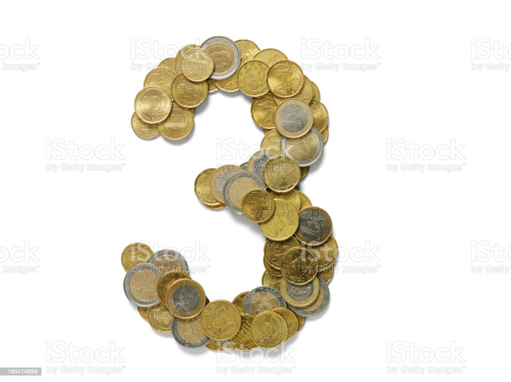 Number 3 in Euros royalty-free stock photo