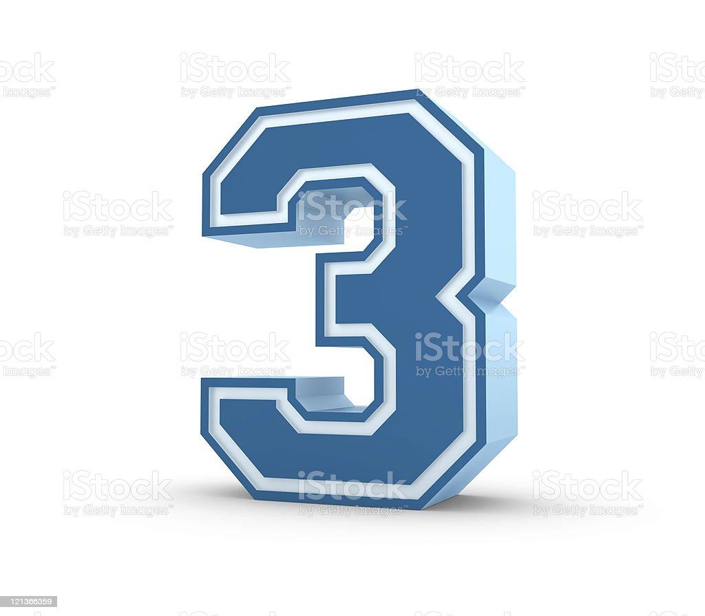 Number 3 in School Style royalty-free stock photo