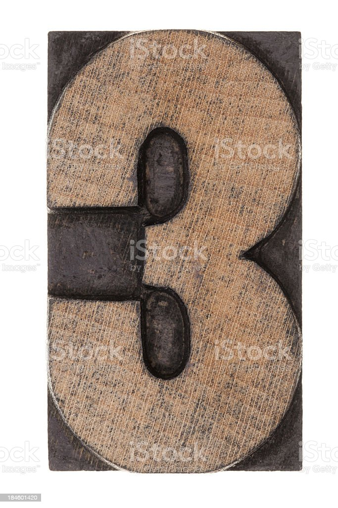 Number 3 - Letterpress letter royalty-free stock photo
