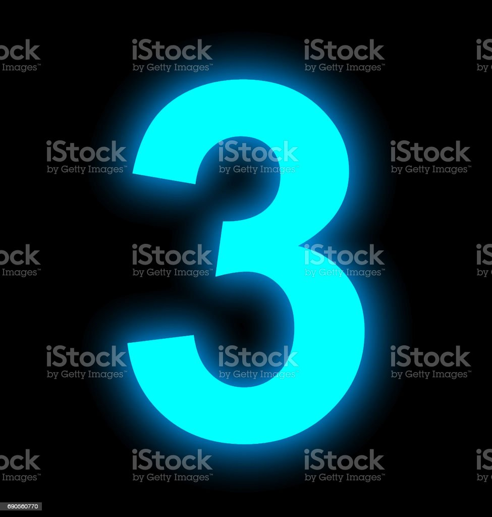 number 3 neon light full isolated on black stock photo