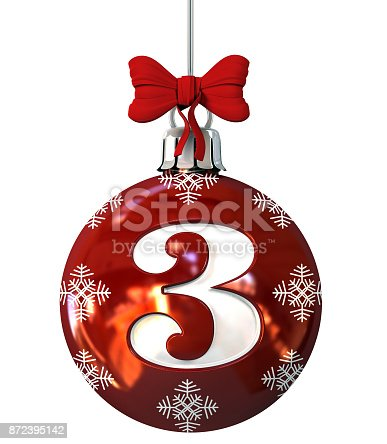 845307450 istock photo Number 3 on Red Christmas Ball 872395142