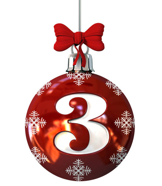 Number 3 on Red Christmas Ball stock photo