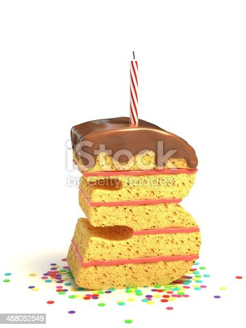 istock number 3 shaped chocolate birthday cake with lit candle 488052549