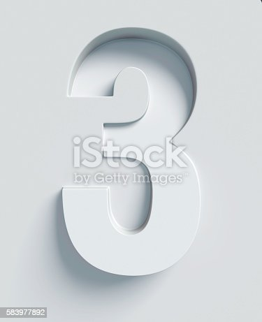 istock Number 3 slanted 3d font engraved and extruded from surface 583977892