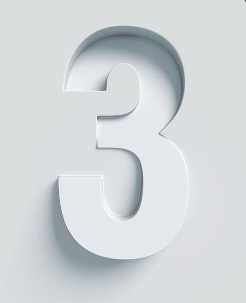 number 3 slanted 3d font engraved and extruded from surface - number 3 stock photos and pictures