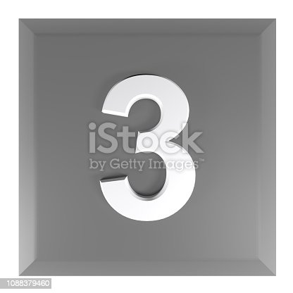istock Number 3 square black push button - 3D rendering illustration 1088379460