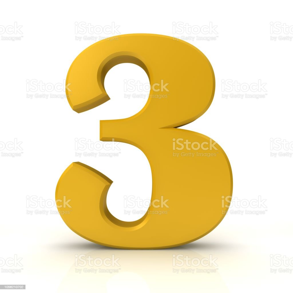 Number 3 Three 3d Gold Sign Symbol Icon Graphic Isolated