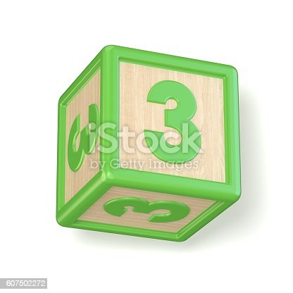 520660497 istock photo Number 3 THREE wooden alphabet blocks font rotated. 3D 607502272