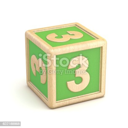 istock Number 3 THREE wooden alphabet blocks font rotated. 3D 622188868