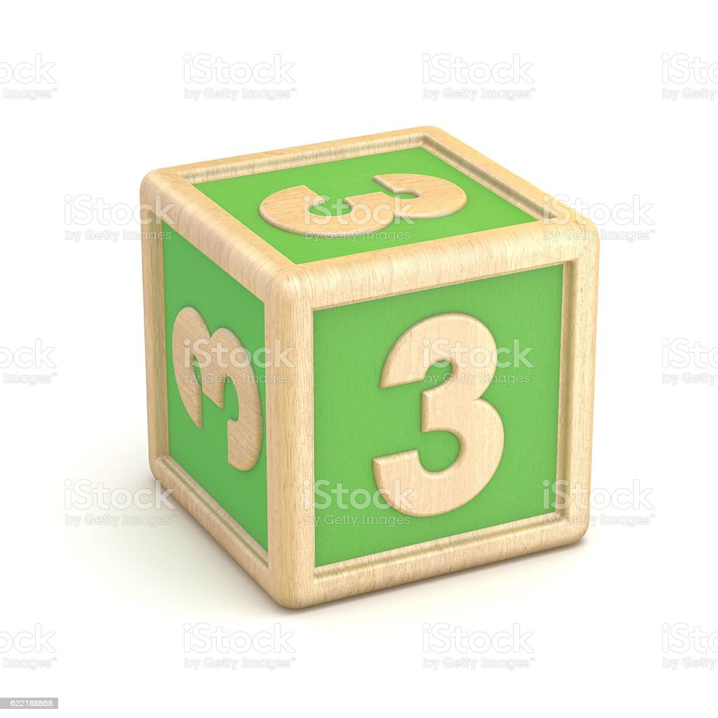 Number 3 THREE wooden alphabet blocks font rotated. 3D stock photo
