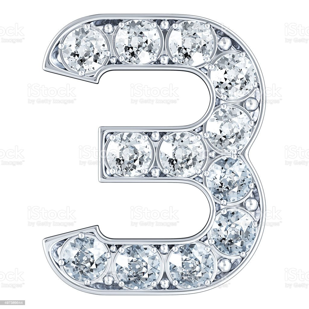 Number 3 With Diamonds Stock Photo
