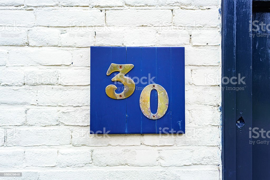 Number 30 stock photo