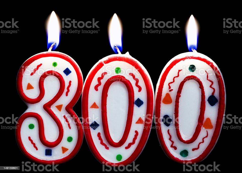 Number 300 Birthday Candle Stock Photo