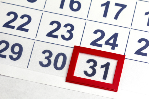 Number 31 Bordered By Red In Calendar Stock Photo - Download Image Now