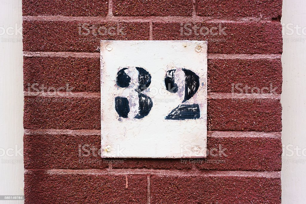 Number 32 stock photo