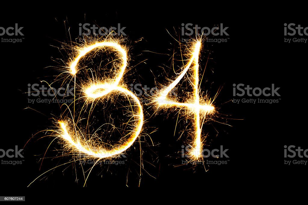 Number 34 made with sparklers - foto de stock