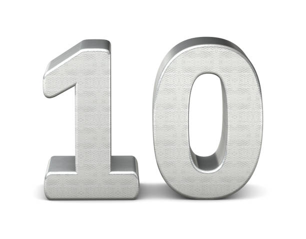 10 number 3d silver structure 3d rendering - number 10 stock photos and pictures