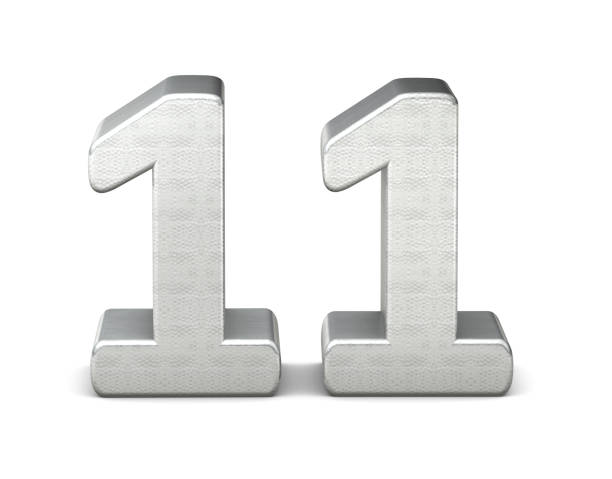 11 number 3d silver structure 3d rendering stock photo