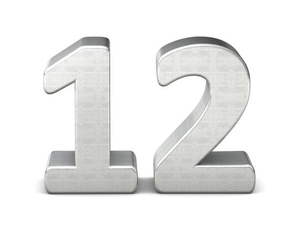 12 number 3d silver structure 3d rendering - 12 stock pictures, royalty-free photos & images
