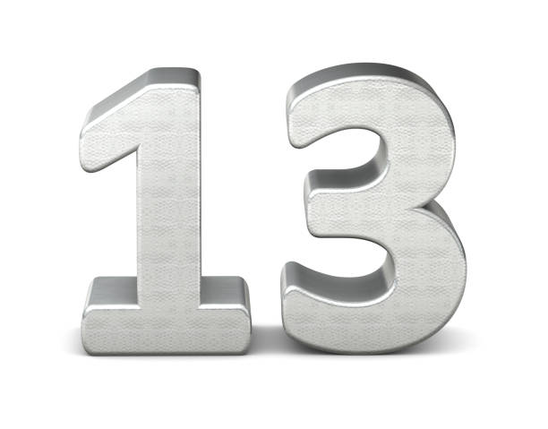 13 number 3d silver structure 3d rendering stock photo