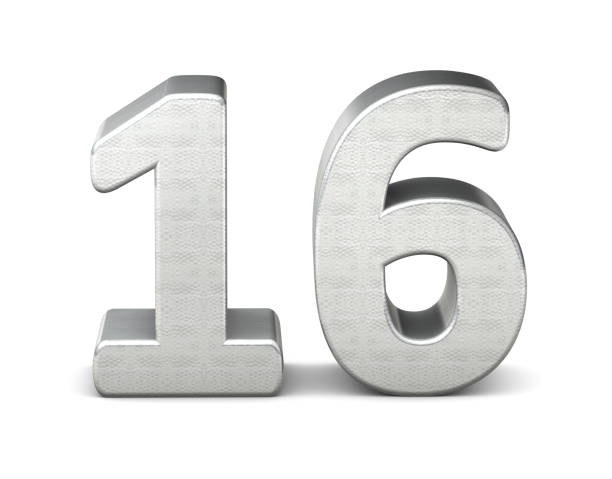number 3d silver structure 3d rendering - number 16 stock photos and pictures
