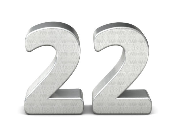 22 number 3d silver structure 3d rendering stock photo
