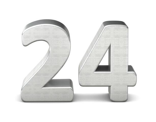 24 numéro structure argent 3d rendu 3d - nombre 24 photos et images de collection
