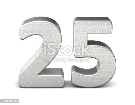 istock 25 number 3d silver structure 3d rendering 870618752