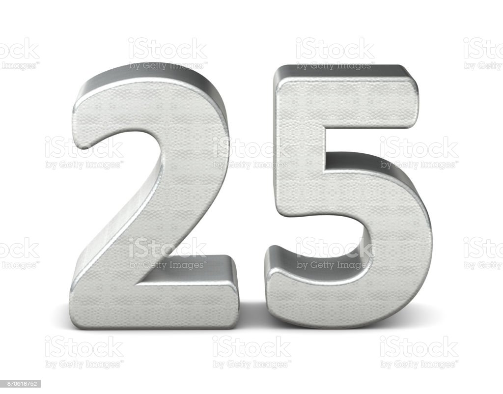 25 number 3d silver structure 3d rendering stock photo