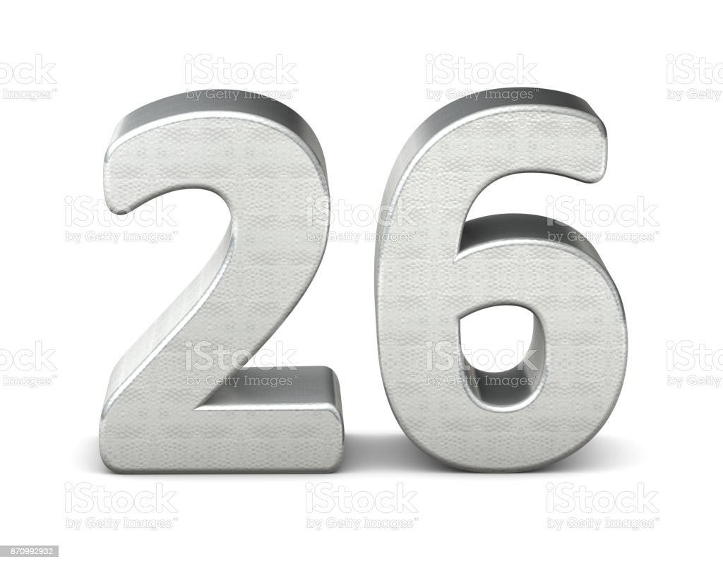26 number 3d silver structure 3d rendering stock photo