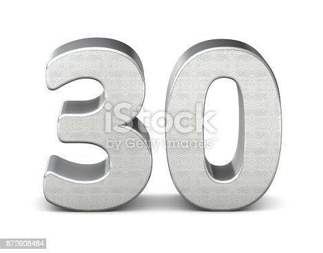 istock 30 number 3d silver structure 3d rendering 872608484