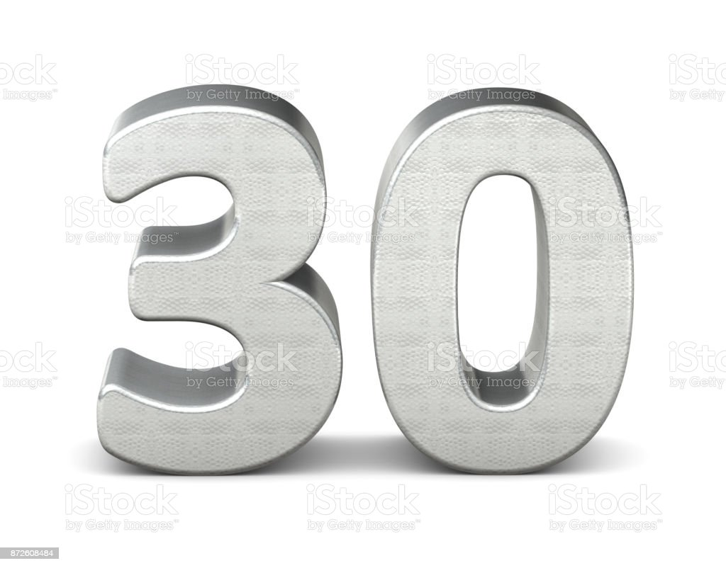 30 number 3d silver structure 3d rendering stock photo