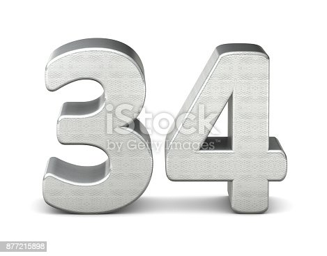 istock 34 number 3d silver structure 3d rendering 877215898