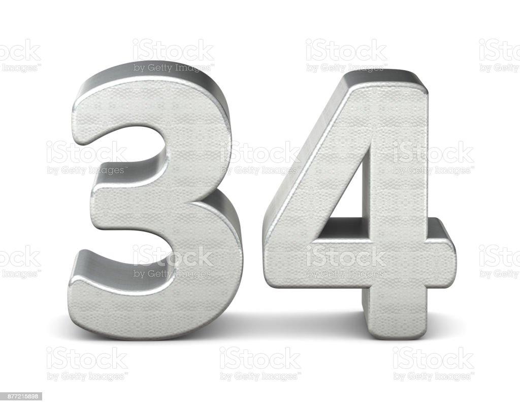 34 número estructura plata 3d render 3d - foto de stock
