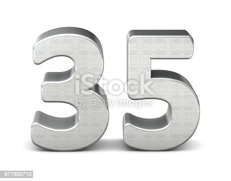 istock 35 number 3d silver structure 3d rendering 877803710