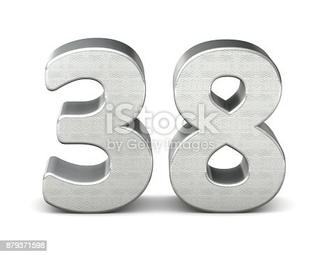 istock 38 number 3d silver structure 3d rendering 879371598