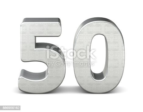istock 50 number 3d silver structure 3d rendering 886956162
