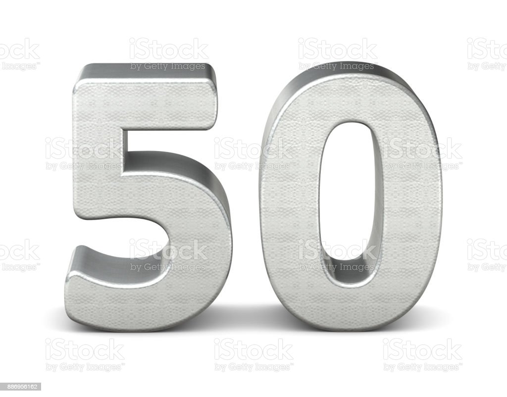 50 number 3d silver structure 3d rendering stock photo