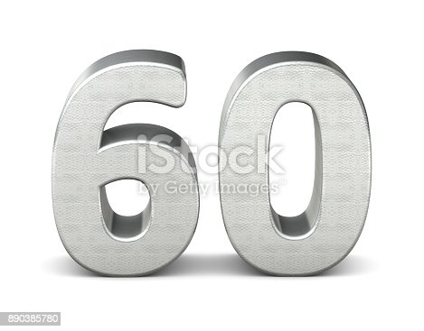 istock 60 number 3d silver structure 3d rendering 890385780