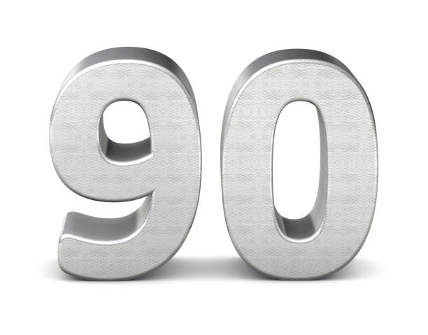90 number 3d silver structure 3d rendering - number 90 stock photos and pictures